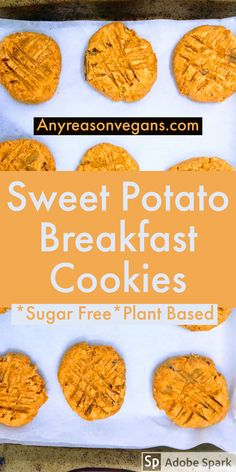 Get the for These Cinnamon Sweet Potato Breakfast Cookies only need 3 Ingredients! This recipe is so easy to make and perfect for meal prepping. These gluten free cookies are also perfect for a healthy snack for the entire family. Sweet Potato Cookies, Sweet Potato Cinnamon, Sweet Potato Recipes, Baby Food Recipes, Whole Food Recipes, Cookie Recipes, Vegetarian Recipes, Healthy Recipes, Healthy Cookies