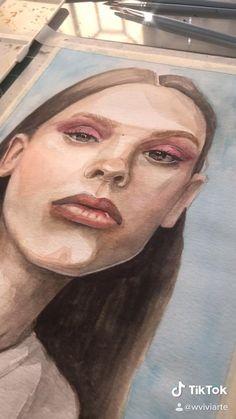 Watercolor Portrait Tutorial, Watercolor Portrait Painting, Watercolor Art Face, Watercolor Art Lessons, Portrait Art, Posca Art, Cool Art Drawings, Art Portfolio, Aesthetic Art