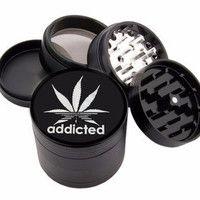 """Addicted Design - 2.25"""" Premium Black Herb Grinder - Custom Designed"""