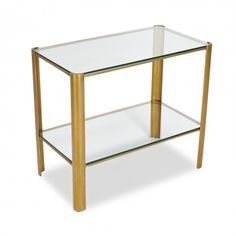 Classic Brass Glass Rectangle Side Table
