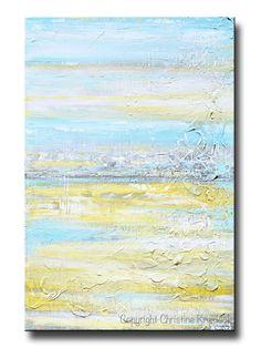 "ORIGINAL Art Abstract Painting Yellow Grey Turquoise Blue Modern Textured Coastal Wall Decor 36x24"""