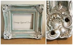 Antique frame painted in Annie Sloan Duck Egg and Old White clear and dark wax highlighted.