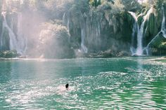 Kravice Waterfalls, Mostar, Bosnia and Herzegovina - Swimming in...