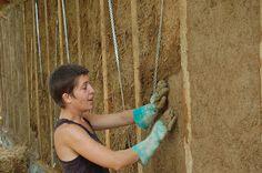 Maison terre et paille à Bazouges: Greb : mortier alternatif