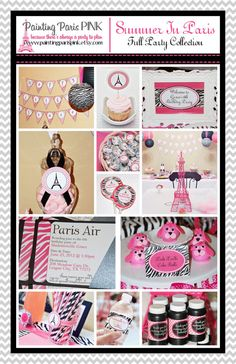 Summer In Paris Party  FULL Printable Party by PaintingParisPink, $35.00