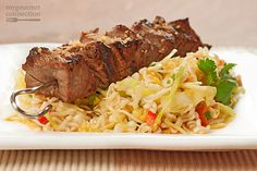 Pineapple Beef Kabobs with Spicy Ramen Slaw