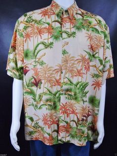 3b1521a3 Tori Richard Hawaiian Aloha Shirt Men's Size Large Camp Shirt Palm Trees  Tropical Foliage Vintage 80s