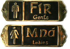 "Irish Pub Fir and Mna ""Gents and Ladies"" Brass Bathroom Door Signs"