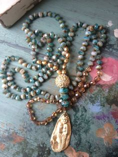 Long bohemian style turquoise aqua beachy hand knotted vermeil mermaid 925 sterling boho jewelry by MarleeLovesRoxy
