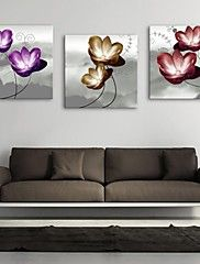 Personalized E-HOME® Canvas Print Flower 30x30cm 40x40cm 60x60cm Framed Canvas Painting Set of 3