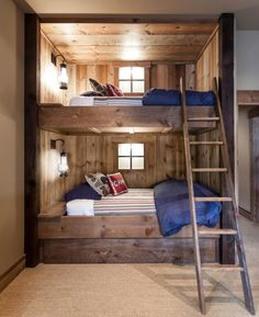 Baroque Bunk Bed Ladder mode Sacramento Rustic Bedroom Inspiration with beige wall blue bedding built-in bunk bed built-ins bunk bed bunk bed ladder carpet
