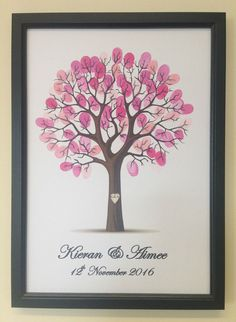WEDDING GUEST BOOK ALTERNATIVE PERSONALISED FINGERPRINT FRAMED TREE & INK PAD