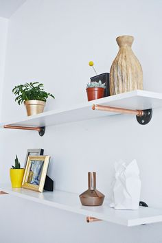 copper shelves_18. Close match to rose gold and idea for affixing to a wall.