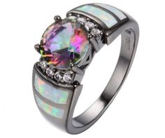Islamic-Exquisite-Women-Jewelry-10KT-Black-Gold-Filled-Opal-Ring-Wedding-Ramadan- love this! <3