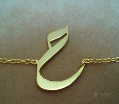 Arabic Calligraphy Letter Bracelet Gold Plated by Ranawiyet124, $43.00