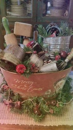 11 Awesome Christmas Table Centerpieces Decoration Ideas – Welcome My World Primitive Christmas Decorating, Country Christmas Decorations, Prim Christmas, Farmhouse Christmas Decor, Modern Christmas, Xmas Decorations, Vintage Christmas, Christmas Holidays, Farmhouse Decor