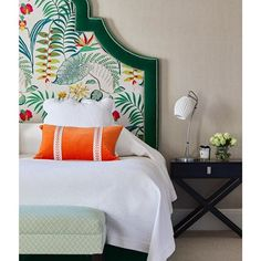 London designer Ann Gibbons created colourful mood for this master bedroom, with a statement headboard upholstered in our… Home Decor Kitchen, Home Decor Bedroom, Jim Thompson Fabric, Bedroom Design Inspiration, Headboard Designs, Master Bedroom Design, Guest Bedrooms, Dream Decor, Beautiful Bedrooms