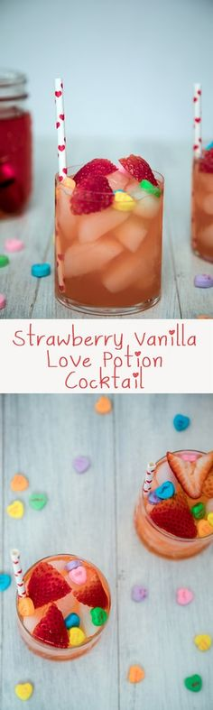Strawberry Vanilla Love Potion Cocktail -- This vodka-based cocktail is perfect for sharing with your sweetie on Valentine's Day, but can be enjoyed any time of the year!   wearenotmartha.com
