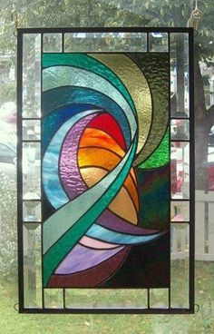 Harmonious Currents Stained Glass Window Panel Signed AND Dated | eBay