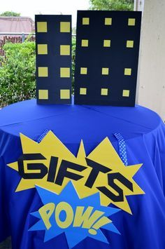 Decorated gift table at a Batman Birthday P arty!  See more party ideas at CatchMyParty.com!