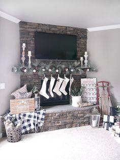 Stone Christmas Mantel and Fireplace