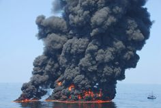 A controlled burn of oil from the Deepwater Horizon/BP oil spill sends towers of fire hundreds of feet into the air over the Gulf of Mexico on June (Photo by Coast Guard Petty Officer First Class John Masson / CC BY-ND - When will we ever learn ! Apocalypse, Deepwater Horizon Oil Spill, Bp Oil, Oil Platform, Ocean Pollution, Edible Oil, Deep Water, All Nature, Gulf Of Mexico