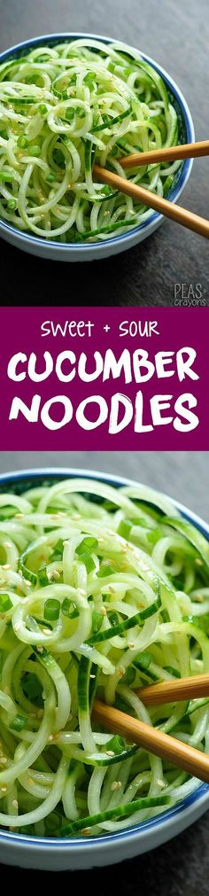 Healthy + EASY Sweet and Sour Cucumber Noodles - makes a great gluten-free side dish!