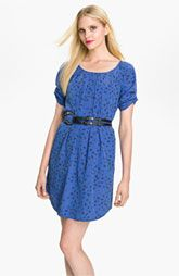 Jessica Simpson Ruched Sleeve Belted Crêpe de Chine Dress