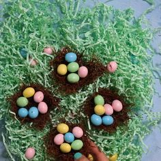 hoppy easter These Easter Chocolate Nest are an adorable treat to make with your kids. They are super cute, fun to make and very delicious. I used vermicelli rice with melted chocolate an Hoppy Easter, Easter Eggs, Easter Cake Nest, Chocolate Easter Nests, Desserts Ostern, Dessert Original, Decoration Patisserie, Easter Treats, Cute Easter Desserts