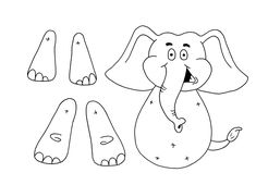 Animal Crafts For Kids, Toddler Crafts, Preschool Crafts, Paper Puppets, Paper Toys, Paper Crafts, Elephant Template, Elephant Pattern, Decoration Creche