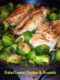 Baked Lemon Chicken & Brussels - South Beach Phase 1 friendly AND it's just a zippy meal that is EASY to make & FUN to eat!
