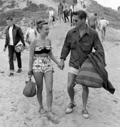 Beach date, 1950s