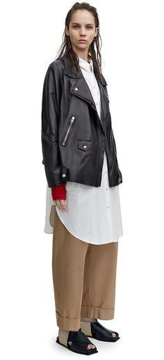 Swift lightweight A-line leather jacket with biker details #AcneStudios #Resort2015