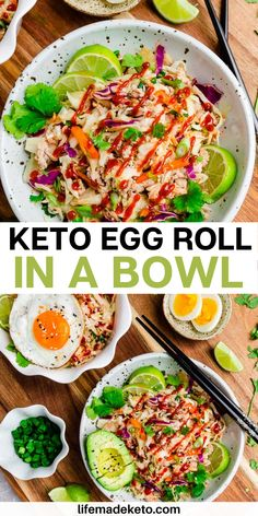 This Keto Egg Roll in a Bowl is a healthy low carb dinner recipe with all the delicious flavors of an Asian egg roll from a Chinese restaurant without the egg roll wrapper. Gluten free, paleo and Whole30 compliant. Easy to make in 30 minutes | whole 30 recipes | paleo recipes | healthy egg roll recipe | gluten free recipe | healthy lunch recipes | healthy keto recipes | keto lunch recipes | keto dinner recipes } low carb egg roll recipe | best low carb lunch ideas #lowcarb #whole30 #eggroll Healthy Low Carb Dinners, Low Carb Lunch, Low Carb Dinner Recipes, Lunch Meal Prep, Keto Dinner, Lunch Recipes, Paleo Recipes, Easy Meals, Healthy Eating