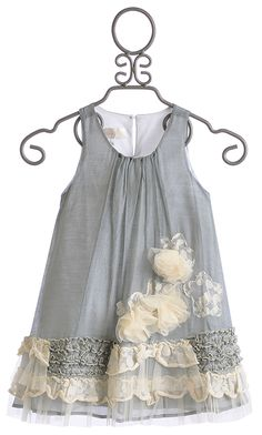 Isobella and Chloe Girls Vicky Grey A-Line Dress Little Dresses, Little Girl Dresses, Flower Dresses, Cute Dresses, Dress Girl, Vintage Baby Dresses, Little Girl Fashion, Fashion Kids, Grey Fashion