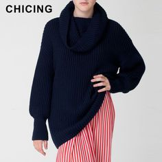 CHICING Women's Turtlenecks Sweater 2015 Autumn Winter Long Sleeve Warm Loose Pullovers Knitted Femininas Jumpers B1511009