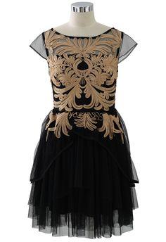 Golden Floral Embossment Black Tulle Dress - Party - Dress - Retro, Indie and Unique Fashion Black Tulle Dress, Unique Fashion, Womens Fashion, Led Dress, Up Girl, Retro Dress, Pretty Dresses, Amazing Dresses, Dress Me Up