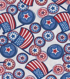 Holiday Inspirations Patriotic Fabric- Whimsical Flags & ButtonsHoliday Inspirations Patriotic Fabric- Whimsical Flags & Buttons,
