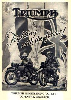 Great Britain, WWI, Triumph motorcycle ad shows French and British soldier.