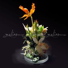 The composition of orchids. Colored glass. Author's handmade. ArtStudio MalinoDesign. height 21cm