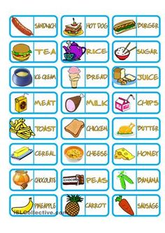 A domino game with the topic of food. Students match words with pictures in order to get rid of their dominoes as fast as possible. Hope it is useful for you ;) - ESL worksheets