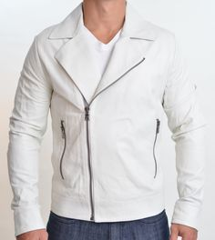 HANDMADE White leather jacket , men leather jackets, Biker leather jacket mens - Outerwear