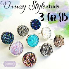 3 Pairs for 15🎀 Drusy Druzy style earrings Handmade by me acrylic resin Drusy style 1/2 inch earrings in silver tone  frame or  post. Clear rubber backing. 3 for $15. Cannot be sold separately. Minimum chargé $15. Additional pairs $5. Price firm. Can mix/match Drusy style or picture earrings. Each piece varies slightly in shape. The 3 for 15 are grouped together in my closet. Available in silver, gold, rose gold, gunmetal, & clip-on. 🚫DOES NOT WORK WITH ADD TO BUNDLE🚫Please comment under…
