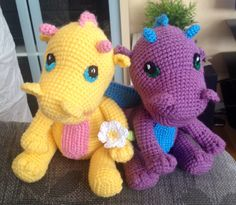 Baby dragons. Pattern by Vanja Grundmann http://www.ravelry.com/patterns/library/baby-dragon-8