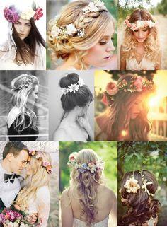 Blomst i håret #Hair inspiration #wedding #Flowers