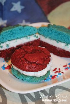 Easy & Delicious Red, White & Blue Whoopie Pies - perfect for Memorial Day and 4th of July!