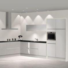 Hoekkeuken in wit keuken pinterest modern farmhouse for Keuken 3d planner