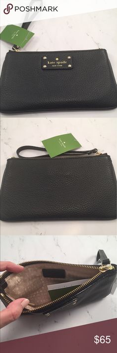 "•Kate Spade Berkshire Road Chrissy Wristlet• NWT Kate Spade New York Zippered Chrissy wristlet in Berkshire Road Black (WLRU1007). New with tags. Retails for $128.  Measurements: 8.5"" L x 5"" H x 1"" D  Wristlet Strap drop: 6"", Gold-Tone Hardware  Top Zipper Closure, Pebbled Black Leather Exterior  Interior Features: 2 Slip Pockets kate spade Bags Clutches & Wristlets"