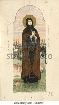 Saint Euphrosyne of Polatsk (Study for frescos in the St Vladimir's Cathedral of Kiev), 1884-1889. Artist: Vasnetsov.