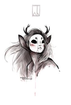 Bitter by Mothtail on deviantART. Monster with antlers and white face.